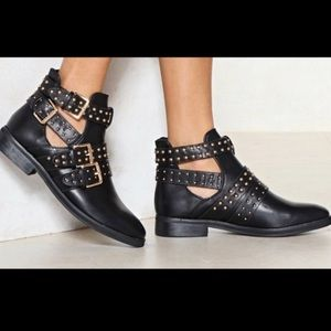 Gold studded black booties